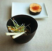 Asian vegetables with salmon in nori leaf