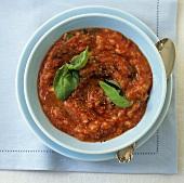 Bread and tomato soup