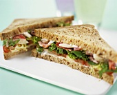 Wholemeal ham and salad sandwich