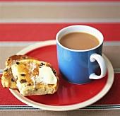 Toasted teacake with tea (UK)