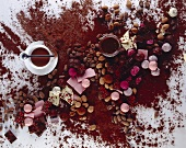 Still life: chocolate, chocolates and cocoa powder