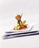 Fried prawns with okra pods in tempura batter