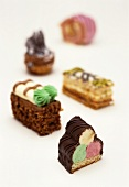 Small cakes with colourful decorations