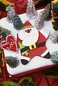 Christmas cake with Father Christmas decoration