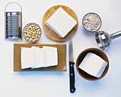Tofu, soya beans and various kitchen tools