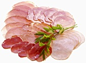 Various types of ham, sliced