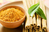 Cinnamon sticks, curry leaves and curry powder