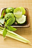 Limes, kaffir limes, Thai basil and lemon grass