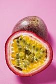 Purple granadilla (passion fruit), halved