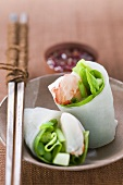 Vietnamese spring roll with asparagus and shrimps