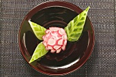 Radish flower and carved cucumber leaves