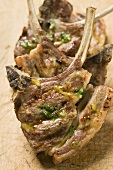 Grilled lamb cutlets with herb oil