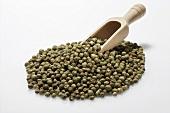 Green peppercorns with wooden scoop