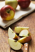 Apple wedges and whole apples