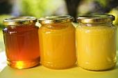 Three jars of honey