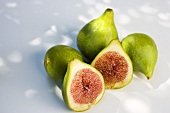 Three whole figs and two fig halves