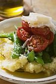 Mashed potato with mangetout, tomatoes, Parmesan, olive oil