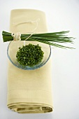 Fresh chives, a bunch and chopped