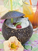 Pina Colada with cherries and lime