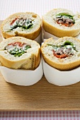 Pork, pepper and spring onion baguette sandwiches