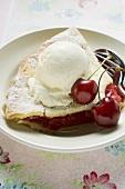 Piece of cherry pie with vanilla ice cream & fresh cherries (USA)