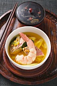 Fish soup with red mullet, shrimp, lentils & pineapple (Asia)