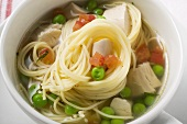 Noodle soup with chicken and vegetables (detail)