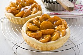 Two apricot tarts on cake rack