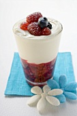 Berry dessert with cream