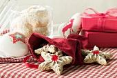 Assorted Christmas biscuits, gifts, Christmas decorations