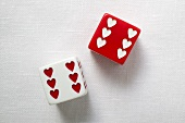Two dice with hearts for Valentine's Day
