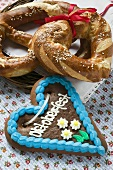 Lebkuchen heart, pretzel and lye roll for Oktoberfest