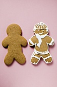 Two gingerbread men, one plain and one iced