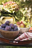 Plums and apples in bowls on tray on garden table