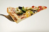 Slice of American-style vegetable pizza on server