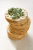 Corn salad cream on crackers