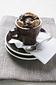 Chocolate and Amerana cherry pudding in espresso cup
