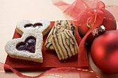 Jam biscuit and stripy biscuits for Christmas