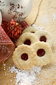 Christmas biscuits with raspberry jam