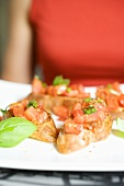 Bruschetta with fresh basil