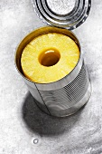 Pineapple rings in a tin