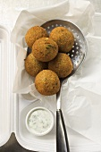 Falafel (chick-pea balls) with yoghurt dip in lunch box