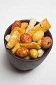 Nibbles from Japan in small brown bowl