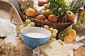 Fresh vegetables, fruit, cheese, yoghurt and flour