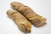 Two rustic baguettes