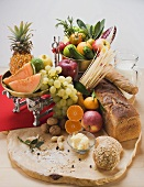 Fresh vegetables, fruit, butter, nuts and wholemeal bread