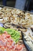 Shrimps and fish at a market