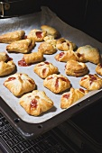 Freshly baked puff pastries in the oven