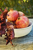 Pomegranates in bowl with autumn leaves