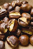 Several roasted chestnuts
